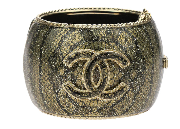 Chanel Black Lace Inlay Gold Tone CC Hinge Cuff Bracelet