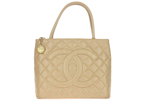 Chanel Vintage Beige Caviar Leather Medallion Tote