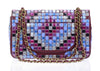 Chanel Runway Red Multicolor Lambskin Medium Flap Bag With Mosaic Embroideries By Lesage - Designer Vault - 3