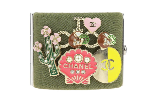 Chanel 17C Cuba Cruise Khaki Green Canvas Pin Charm Cuff Bracelet