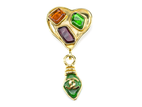 Chanel 95P Poured Glass Heart Brooch