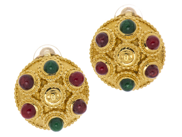 Chanel Button Red and Green Gripoix Earrings