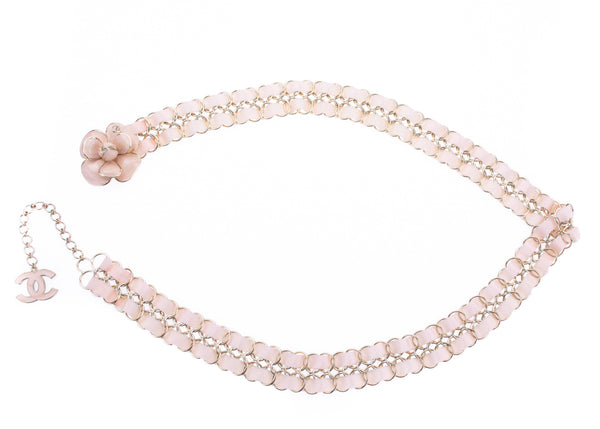 Chanel Camellia Floral Enamel Ribbon Belt