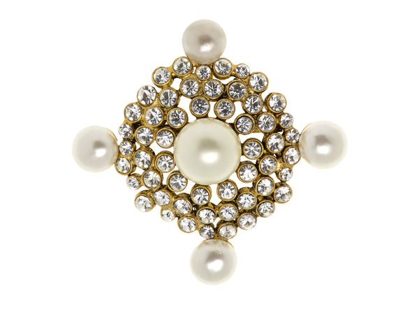 Chanel Crystal Faux Pearl Vintage Brooch