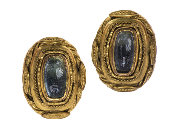Chanel Early Vintage Poured Glass Baroque Earrings