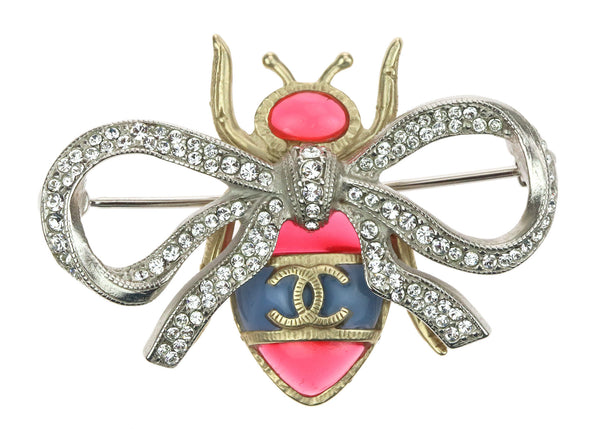 Chanel Gold Beetle Crystal Encrusted Ribbon Bow Brooch
