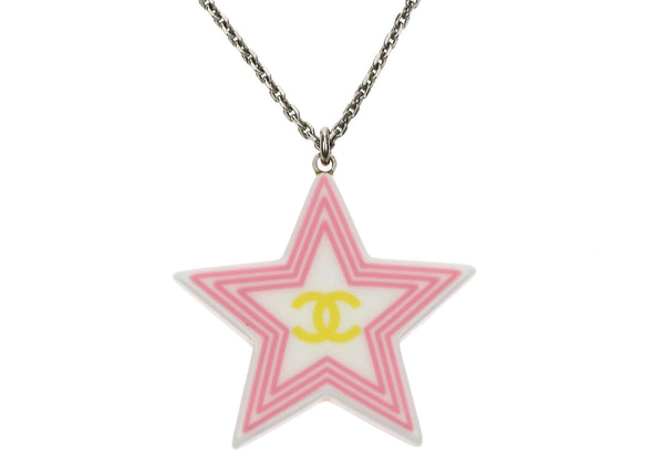 Chanel Pink CC Star Necklace