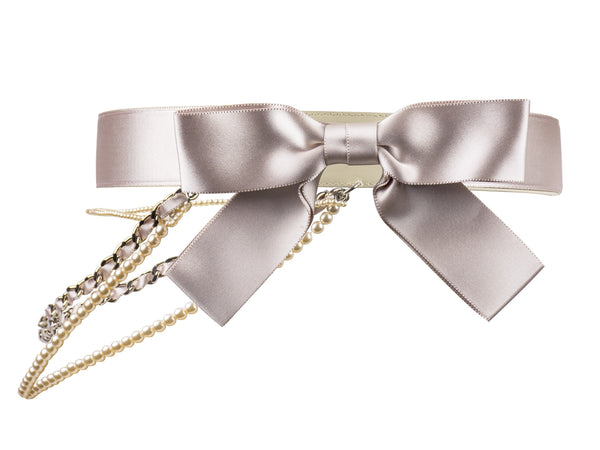 Chanel Satin Bow Pearl Chain Belt