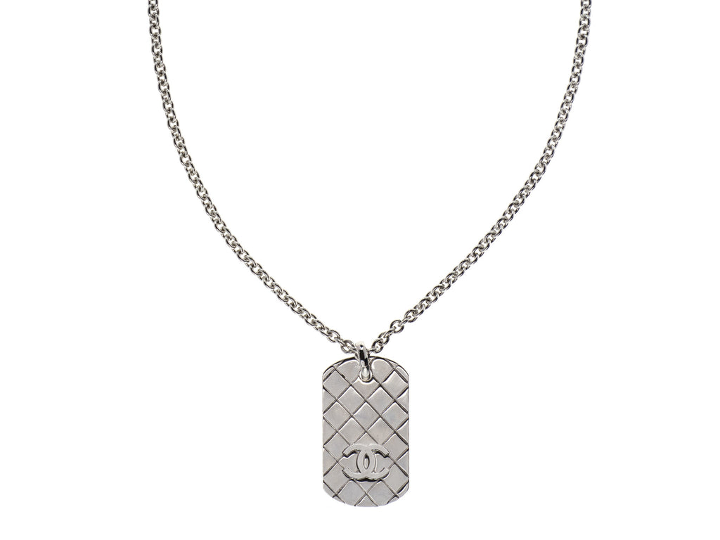 chanel silver dog tag necklace chanel consignment designer vault