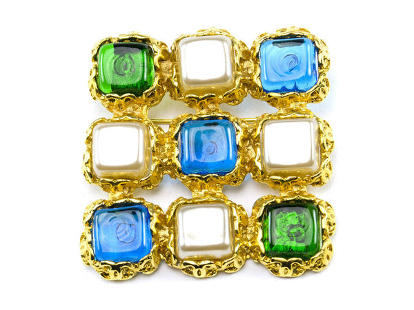 Chanel Vintage Blue Green Square Gripoix Brooch