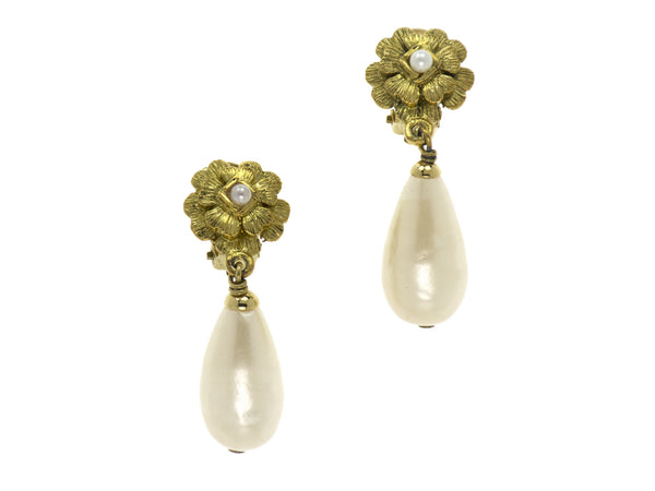 Chanel Vintage Camellia Floral Teardrop Pearl Earrings