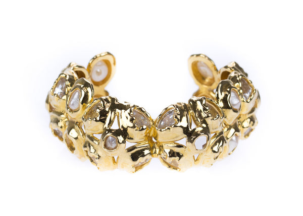 Chanel Vintage Faux Pearl Crystal Abstract Cuff Bracelet