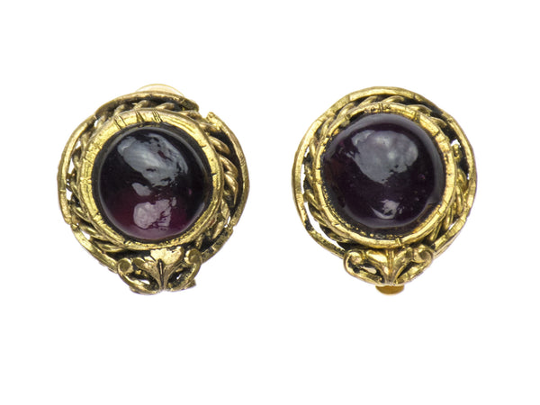 Chanel Vintage Glass Button Earrings