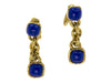 Chanel Vintage Gold Blue Stone Earrings