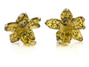 Chanel Vintage Gold Rhinestone Floral Earrings