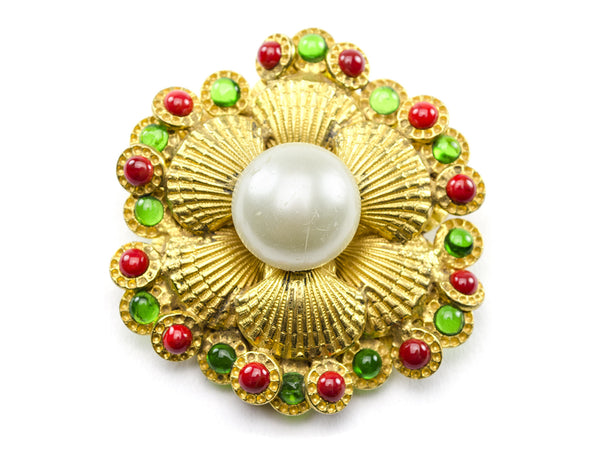 Chanel Vintage Gold Seashell Brooch