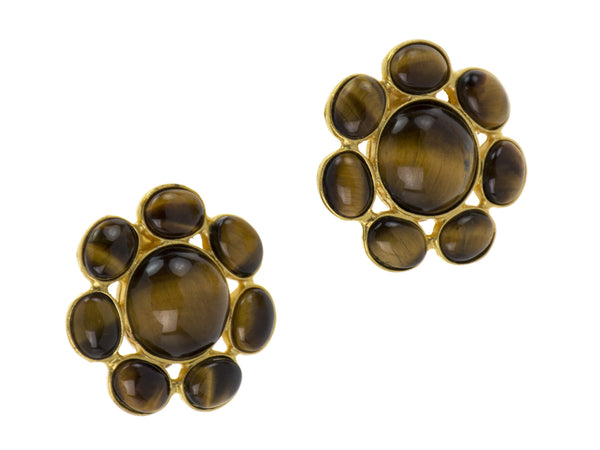 Chanel Vintage Gold Tigers Eye Earrings