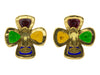 Chanel Vintage Gripoix Clover Earrings