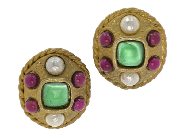 Chanel Vintage Gripoix Rare Statement Earrings