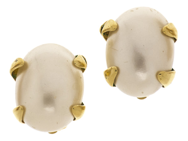 Chanel Vintage Oval Pearl Earrings