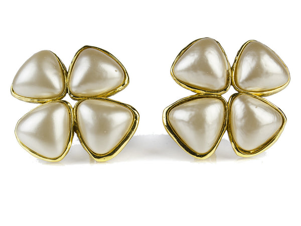 Chanel Vintage Pearl Clover Clip On Earrings