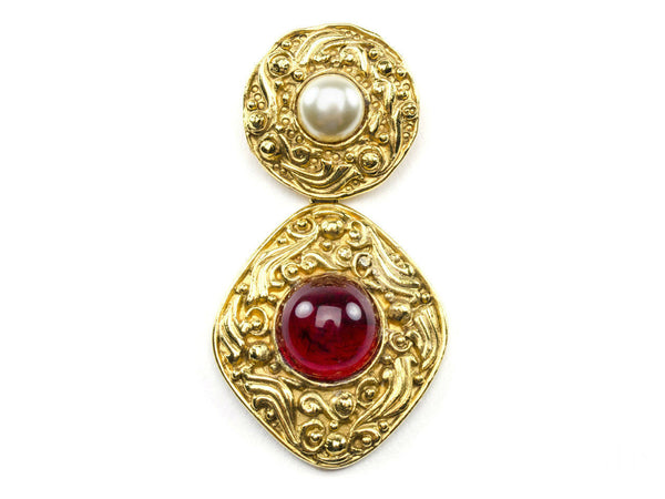 Chanel Vintage Pearl & Glass Brooch