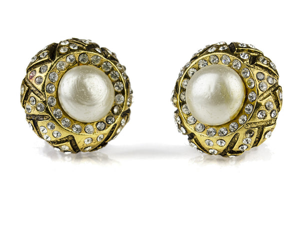 Chanel Vintage Pearl Rhinestone Earrings