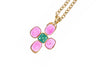 Chanel Vintage Pink Gripoix CC Logo Cross Pendant Necklace