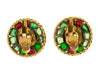 Chanel Vintage Poured Glass Gripoix Button Earrings