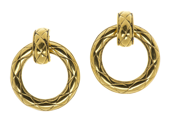 Chanel Vintage Quilted Hoop Earrings