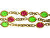 Chanel Vintage Red Green Multistrand Gripoix Bracelet