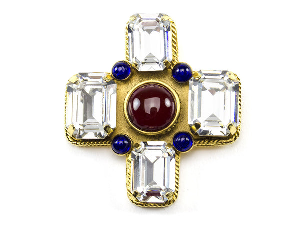 Chanel Vintage Red Gripoix Crystal Cross Brooch