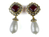 Chanel Vintage Ruby Pearl Drop Earrings