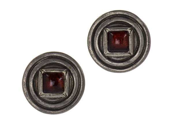 Chanel Vintage Silver Red Gripoix Earrings