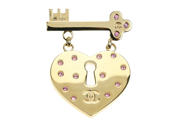 Chanel Gold Heart CC Pink Crystal Lock Key Brooch