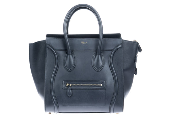Celine Navy Smooth Calfskin Mini Luggage Tote