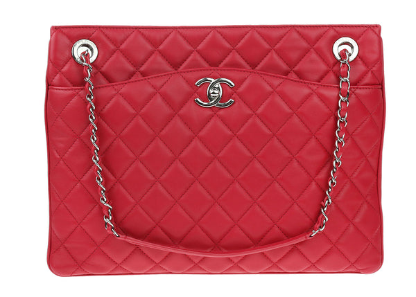 Chanel Rose Fonce Lambskin Accordion Shopping Tote