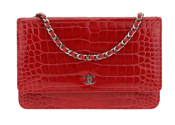Chanel Red Alligator Wallet On Chain WOC