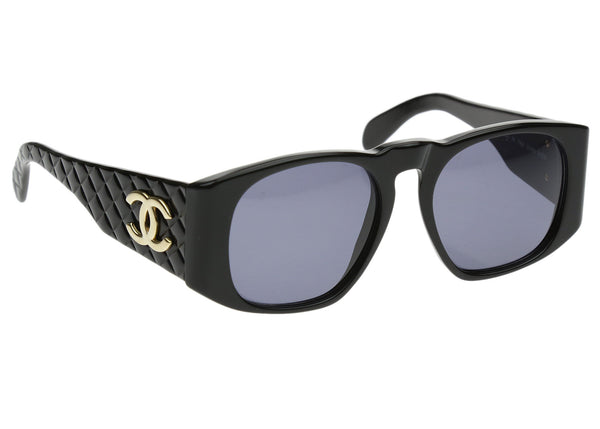 Chanel Vintage Black 01450 Quilted Sunglasses