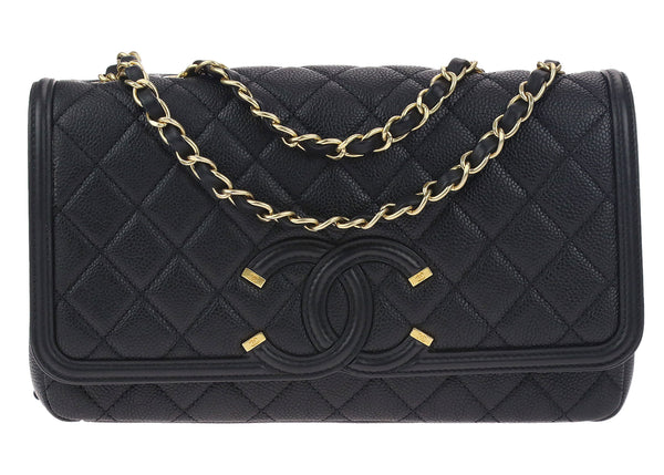 Chanel Black Caviar Leather CC Filigree Medium Flap Bag