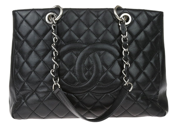Chanel Black Caviar Leather Grand Shopping Tote GST