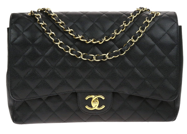 Chanel Black Caviar Leather Maxi Double Flap Bag
