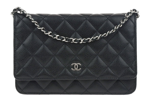 Chanel Black Caviar Leather Wallet On Chain WOC Bag