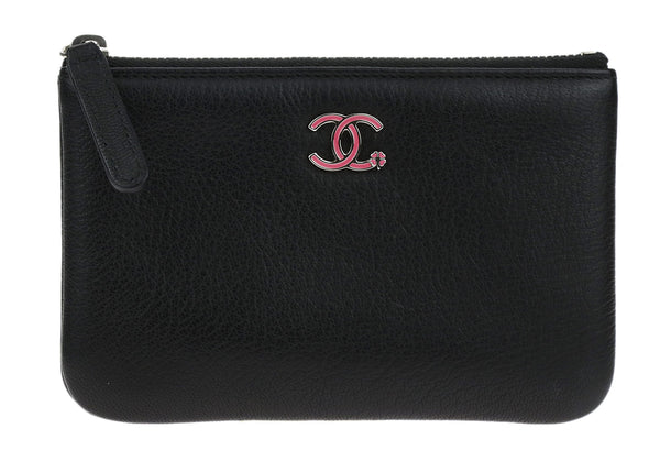 Chanel Black Goatskin CC Clover Small Cosmetic Case