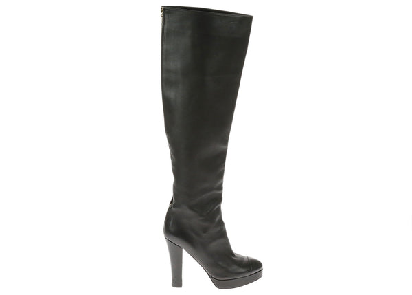 Chanel Black Lambskin Leather Knee Boots