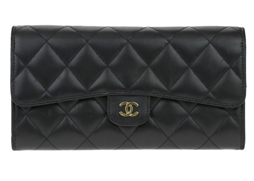 0c38d72afd80 Chanel Black Lambskin Quilted Large Flap Wallet | Chanel Consignment |  Designer Vault