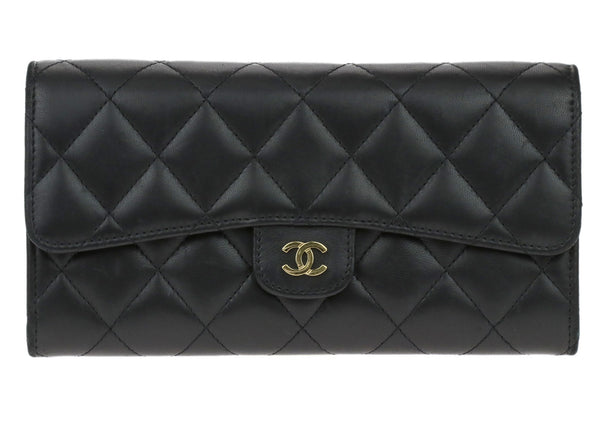 Chanel Black Lambskin Quilted Large Flap Wallet