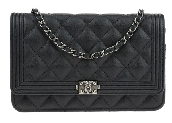 Chanel Black Calfskin Leather Boy Wallet On Chain WOC