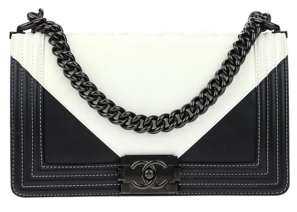 Chanel Black White Lambskin Geometric Medium Boy Flap Bag