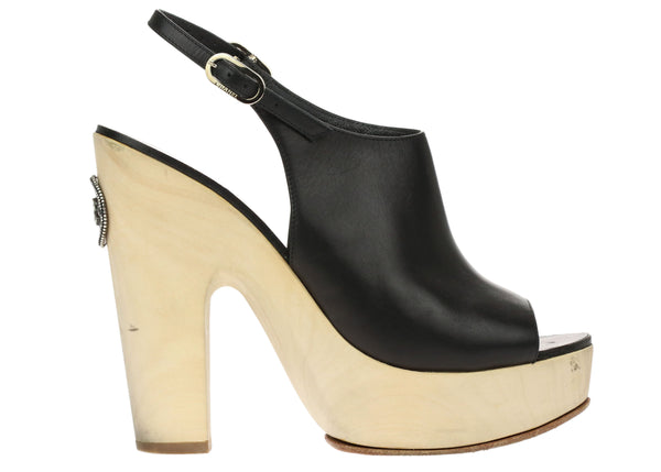 Chanel Black Lambskin Peep Toe Wooden Platform Sandals